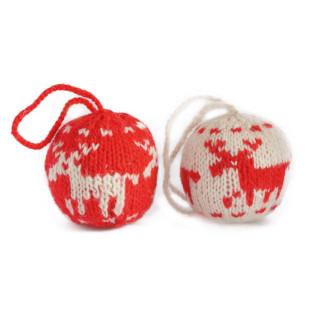 Weihnachtskugeln Rentier gestrickt 7 cm - handmade, 2er-Set