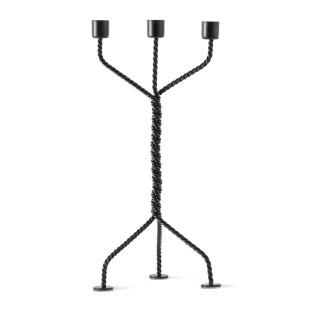 3-armiger Kerzenleuchter TWISTED schwarz | werkwaardig design - Kerzenständer aus gedrehtem Metalldraht.