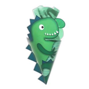 Dino Schultüte mini für Jungen - Wundertüte von Wunderle. Grüne, kleine Schultüte, befüllt mit netten Kleinigkeiten