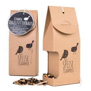 Prämiertes Einweg Vogelfutterhaus Speisekammer aus brauner Pappe von Wunderle. Futterstelle für Vögel.