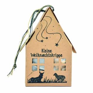 Kleine Weihnachtskrippe im Papphäuschen: 7-teiliges Set mit kleinen Krippefiguren aus Nadelfilz zum Stecken.