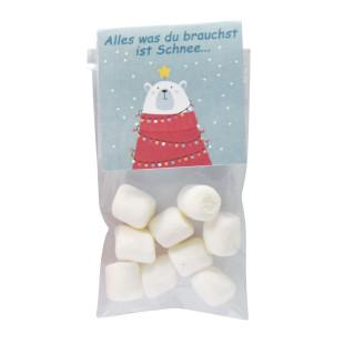 Mini Naschbeutel mit Marshmallow-Schneeflocken von Wunderle. Zauberhaftes, kleines Geschenk zur Weihnachtszeit oder zum Befüllen für den Adventskalender