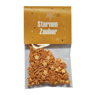 Mini Naschbeutel mit goldigen Zuckersternen von Wunderle. Zauberhaftes, kleines Geschenk zur Weihnachtszeit oder zum Befüllen für den Adventskalender
