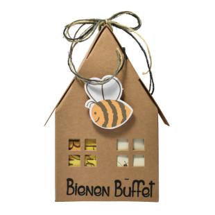 Papphaus Bienen Buffet von Wunderle - Braunes Papphaus, 100% recycelbar, befüllt mit netten Kleinigkeiten für Bienenliebhaber