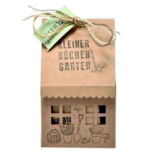 Gartenhäuschen - Kleiner Küchen Garten - von Wunderle aus bedruckter Naturpappe. Geschenk für Gartenfans! Kräuter Garten Haus.