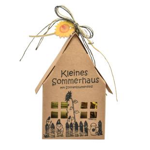 Papphaus - Kleines Sommerhaus mit Sonnenblumenfeld von Wunderle - Braunes Papphaus, 100% recycelbar, befüllt mit netten Kleinigkeiten für alle Gartenliebhaber