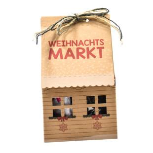 Papphaus - Das ist das Weihnachtsmarkt Haus 2 go - von Wunderle aus bedruckter Naturpappe. Originelles Geschenk für alle Weihnachtsmarktbegeisterte!