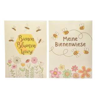 2 Saattüten für Bienen Blumenwiese von Wunderle Design. Kleines Mitbringsel. Postkarte