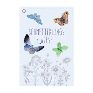 Saattüte für Schmetterlings Blumenwiese von Wunderle Design. Schmetterlinge Blumen - Samen. Kleines Mitbringsel.