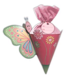 Schmetterlings Schultüte mini für Mädchen - Wundertüte von Wunderle. Bunte, kleine Schultüte, befüllt mit netten Kleinigkeiten