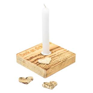Nachhaltiges Upcycling Licht - Denk an dich - von Wunderle. Kerzenständer aus Palettenholz, hergestellt in Werkstätten für behinderte Menschen.