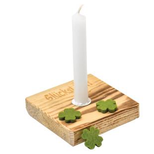 Nachhaltiges Upcycling Glücklicht von Wunderle. Glücksbringer Kerzenlicht - Kerzenständer aus Palettenholz, hergestellt in Werkstätten für behinderte Menschen.