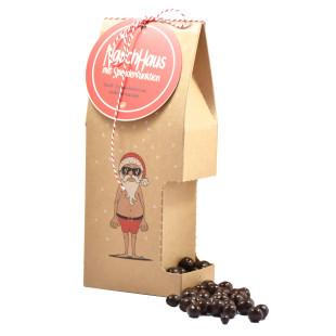 Kleines Weihnachtsgeschenk: das lustige Weihnachtsmann Naschhaus mit Spenderfunktion von Wunderle.
