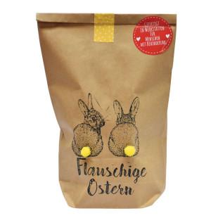 Oster-Geschenktüte von Wunderle, braune Papiertüte befüllt mit netten Kleinigkeiten