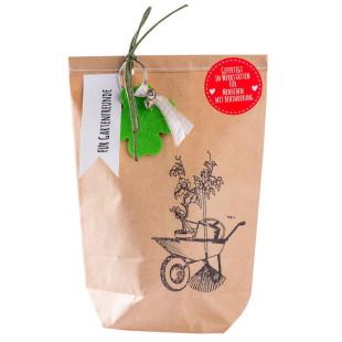 Für Gartenfreunde - die Wundertüte Gartenfreunde von Wunderle. Braune Geschenktüte mit Kleinigkeiten.