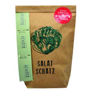 Geschenktüte für Salatfreunde. Braune Wundertüte Salatschatz von Wunderle. Salat Saat / Samen in der Tüte.