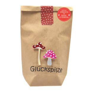 Glücksbringer Geschenktüte mini von Wunderle. Braune Papiertüte, befüllt mit netten Glücksbringern