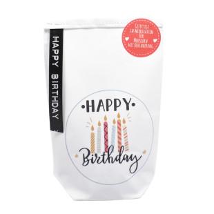 Happy Birthday Geschenktüte von Wunderle - weiße Papiertüte, befüllt mit netten Kleinigkeiten