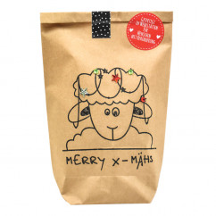 MERRY XMÄHS Geschenktüte von Wunderle. Braune Papiertüte, befüllt mit bezaubernden Kleinigkeiten für die Weihnachtszeit