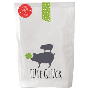 Wunderle Tüte Glück, bedruckt mit kleinen Schweinchen und befüllt mit Glücksbringern. Geschenktüte Glück Wundertüte.
