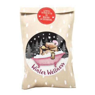 Entspannende Überraschung zu Weihnachten. Winter Wellness Geschenktüte von Wunderle. Wundertüte Weihnachten.
