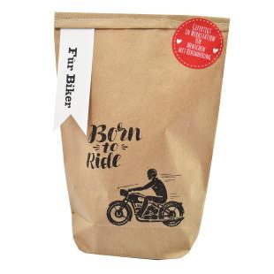 Geschenk für Motorradfreunde: die Wundertüte - Für Biker - von Wunderle. Kleine, braune Geschenktüte für Motorradfahrer.