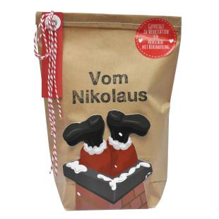 Wundertüte vom Nikolaus. Weihnachten XMAS Geschenktüte Nikolaus. Braune, dekorierte Wundertüte von Wunderle.