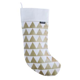 Weihnachtssocke weiß mit goldenen Triangel Dreiecken - ZANA Products.