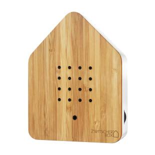 Relax Natursound Zwitscherbox Holz Bambus. Vogelgezwitscher Soundbox - Vogelhaus mit Bewegungsmelder.