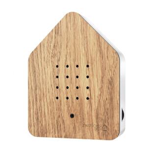 Relax Natursound Zwitscherbox Holz Eiche - Gehäuse weiß. Vogelgezwitscher Soundbox - Vogelhaus mit Bewegungsmelder.