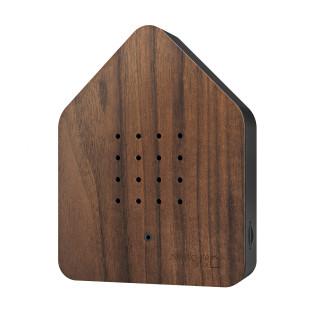 Zwitscherbox Nussbaumholz - Gehäuse schwarz. Soundbox mit Relax Vogelgezwitscher + Bewegungsmelder. Zwitscherbox Haus Walnut.