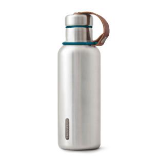 Isolierflasche / Thermosflasche 500 ml Edelstahl ocean blau von black&blum. Auslaufsicher, Schraubdeckel, Halteschlaufe aus Leder ...