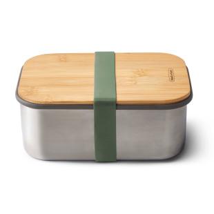 Lunchbox mit großem Volumen 1,25 Liter. Sandwichbox aus Edelstahl mit Holzdeckel aus Bambus. Aus der Serie Box Appetit von black & blum Design. Mit Gummiband in in olivegrün.