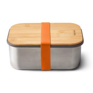 Lunchbox mit großem Volumen 1,25 Liter. Sandwichbox aus Edelstahl mit Holzdeckel aus Bambus. Aus der Serie Box Appetit von black & blum Design. Mit Gummiband in in orange.