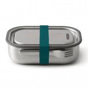 black and blum Lunchbox mit Gabel 1L, Edelstahl, auslaufsicher, ocean blau, Serie Box Appetit