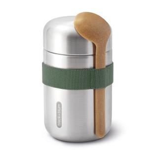 Doppelwandige Thermo Pot FOOD FLASK olive. Lunchpot Edelstahl mit Löffel von black+blum Design.