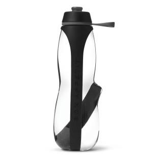 Trinkflasche EAU GOOD DUO inkl. Aktivkohle, 700 ml schwarz - Sportflasche, Kunststoffflasche, Push-Pull Verschluss - black&blum