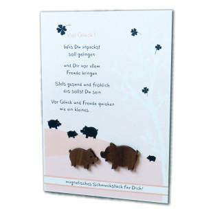 Grußkarte Magnetino Viel Glück mit 2 Schweinchen-Magneten
