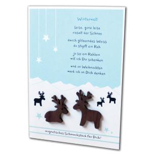 Grußkarte Magnetino Weihnachten mit 2 Hirsch-Magneten