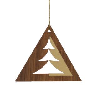 Moderner Weihnachtsschmuck designimdorf - Baumschmuck aus Nussbaumholz mit herausgearbeiteter Tannenbaumsilhouette, Vertiefungen und goldenen Highlights!