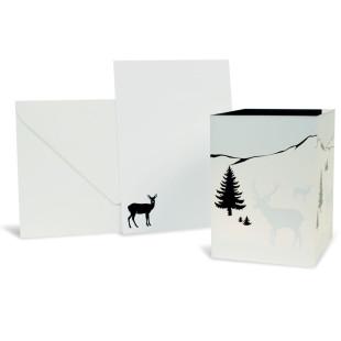 Zauberpost Hirsch, Postkarte + Leuchttüte