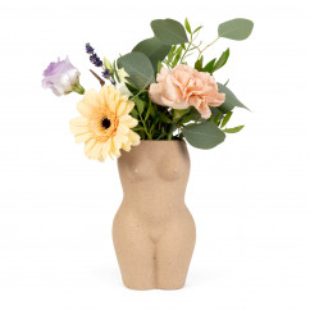 Vase BODY beige - Frauenkörper Blumenvase Keramik von Doiy Design. Skulptur nackte Frau.