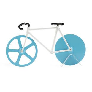 Ein blau-weißes Rennrad zum Pizza schneiden. Pizzaschneider THE FIXIE antartica von doiy design. Fahrrad Pizzaschneider.