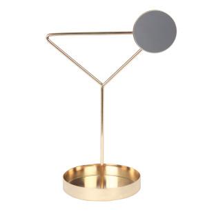 Schmuckhalter mit Ablageschale COCKTAIL von doiy Design. Goldener Schmuckständer aus Metall mit Minispiegel und Ablageschale. Schmuckbaum - Cocktailglas Design.