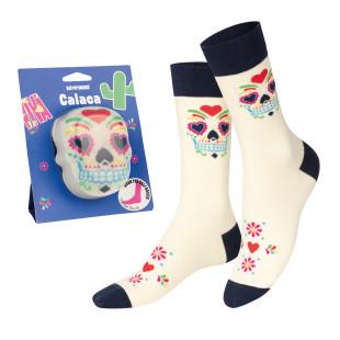Designer Socken mit buntem Totenkopf (Skelett) von doiy design. Calaca Socks Fashionsocken. Coole Socken.