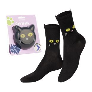 Katzen Fashionsocken von doiy design. Cat Socks Socken - schwarz. Die lustigen Socken mit Katzenmotiv von doiy design.