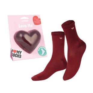 Herz Socken von doiy design in rot. Rote Heart Socks Fashionsocken. Verpackung Herzform.