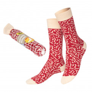 Salami Socks von doiy design - 1 Paar Socken, hochwertiger Feinstrick, originell verpackt in Form einer Salamiwurst