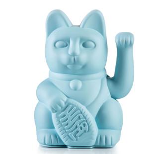 Glücksbringer Winkekatze hellblau. Maneki Neko Glückskatze blau von Donkey Products. Dekofigur Sonderedition.
