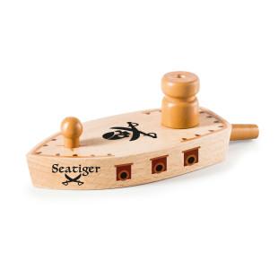 Spaß für die Badewanne oder den Pool: das Luftballonboot SEA TIGER aus Holz von donkey products.